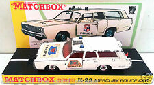 Lesney MATCHBOX Diecast KING SIZE K-23 MERCURY POLICE CAR & Custom Box Display A