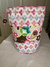 Bucket Style Knitting Bag, Crochet, Yarn Project, Craft Tote, Flowers, Quilting