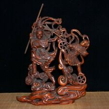 Collectable China Old Boxwood Hand-Carved <Sun Wukong Fights Nezha > Rare Statue