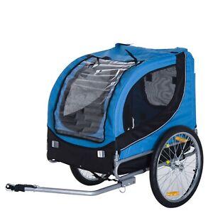 Foldable Pet Carrier Rear Bike Travel Trailer Dog Cat Covered Transporter Blue