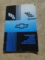 1996 GM Passenger Cars Light Duty Trucks Supplement warranty Manual 4 glove box