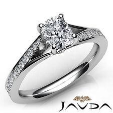 Pave Set Cushion Diamond Sparkling Engagement Ring GIA E VVS2 Platinum 0.89Ct
