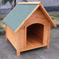 WOODEN DOG KENNEL HOUSE WITH OPENING ROOF OUTDOOR PUPPY PET CABIN ANIMAL SHELTER