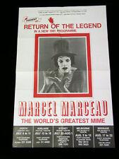 """1981 Australian Tour Marcel Marceau Clown Mime Promotional Poster 17.5"""" x 27"""""""