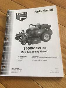 "Ferris  IS4000Z Zero Turn Mower Parts Manual 31HP.   72"" Deck"