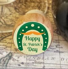 Wine Stopper, Happy St. Patrick's Day Handmade Wood Bottle Stopper, Horseshoe