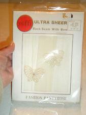 "Vintage Yoffi Ultra Sheer Seamed Pantyhose Butterflies Faux Pearl Fits 5'-5'10"""