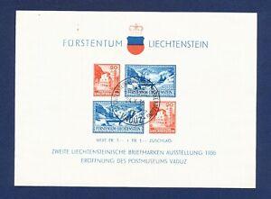 LIECHTENSTEIN - # B14 - VFMNH S/S w/ first day cancel -  Postal Museum - 1936