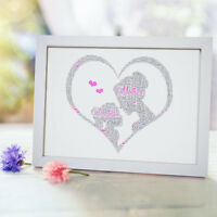 Personalised Word Art Mum Daughter Son Baby Print Mothers Day Frame Gift