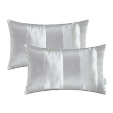 Pack of 2 Cushion Cover Pillow Cover Stripe Geometric Jacquard 12X20 Silver Gray