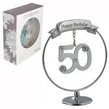 Crystocraft Felice 50th COMPLEANNO CAKE TOPPER/Regalo-Numero & Swarovski