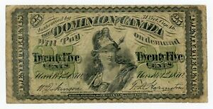 """Canada  … P-8c … 25 Cents … 1870 … *F+* ... Plate """"B"""""""
