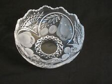 Vintage Crystal Bowl With Etched Fruits Scalloped Edge Unbranded