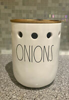Rae Dunn ONIONS Cellar Onion Holder With Wooden Lid HTF NEW #1774
