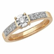 9Carat Yellow Gold Round Solitaire with Accents Fine Diamond Rings