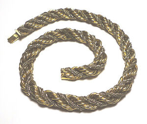 VINTAGE Gold/Rhodium Plated GROSSE 1968 Germany TWISTED Thick CHOKER NECKLACE