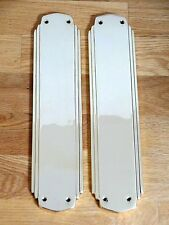 PAIR FINGER PLATES ART DECO CAST BRASS DOOR PUSH FINGERPLATE HANDLES KNOBS PLATE