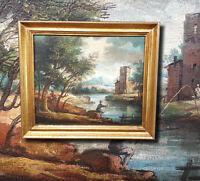 Arkadisches Landschaftsgemälde 18./19. Jhdt. Antikes Ölgemälde Angler vor Burg