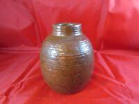 Antique Vintage Redware Earthenware Pottery Vase 4 3/4 x 4 Brown