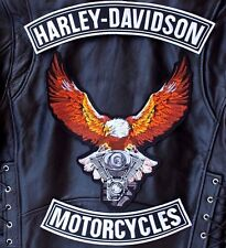 HARLEY ROCKERS + EAGLE BACK PATCH Motorcycle Biker IRON ON Jacket Vest 3pc. Set
