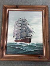 "John Richard Perry Ship at Sea 23 1/2"" x 29 1/2"" Oil Painting"