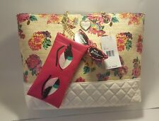 2PC BETSEY JOHNSON Floral Woven Tote Shopper Satchel & Sun Shade Pouch