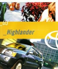 2003 03 Toyota  Highlander  oiginal sales brochure MINT