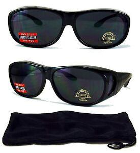 Wrap Around Sunglasses OVER Prescription Glasses WrapAround Fit Black/Brown Lens