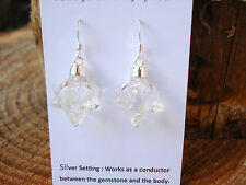 Merkaba Star Of David Earrings Carved in Clear Quartz--DoubleTetrahedron Magic