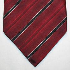 "NEW 60"" Alfani Silk Neck Tie Burgundy with Black and White Stripes 1034"