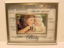 SILVER AND GLASS BABY FLOATING FRAME WITH SILK SCREEN WORDING 4X6 #13-B #51127