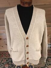Mens Hathaway 100% Alpaca Knit Cardigan Leather Buttons Suede Elbow Patches Xl