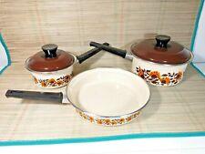Vintage Enamelled Two Saucepan & Frying Pan Set - Induction - Cream - Floral