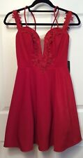 Teeze Me Jr Size 5 Red Party Dress, Fit & Flair Scuba Lace, Tulle Underskirt NEW