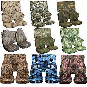 1976-2017 Jeep Wrangler Camo Seat Covers Canvas Front & Rear Choose color