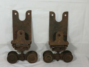 Antique Richards Wilcox heavy steel Barn Shop pocket Door hanger Roller Wheels