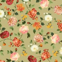 Les Fleurs Beautiful Spaced Floral Flower Toss 100% cotton fabric by the yard