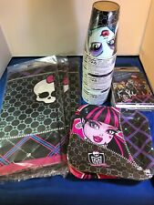 """Lot of Monster High Party Supplies 24 9oz cups 16 7"""" plates 3tbl cover 32 inven"""