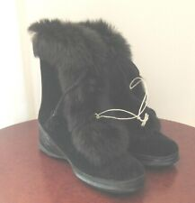 Vintage Girls Black Boots with Rabbit Fur Trim - New! Size 10 50's/60's