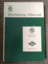 MG Magnette Mk III IV & Riley 4/68 & 4/72 Factory Workshop Manual AKD 4027E 1969