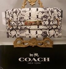 NWT COACH WHITE BLACK Python EMBOSSED Leather Soft Wallet 53888