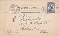 BD234)Australia 1914 small neat cover bearing 2.5d 1st wmk Kangaroo,Perth to USA