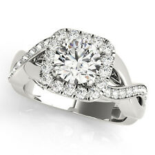 1.55 CT FOREVER ONE GHI  MOISSANITE ROUND HALO CRISS CROSS PAVE WEDDING SET