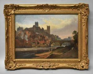 """Original Oil City Scape By Alfred Blundell """" City Of Durham """" Circa 1894"""