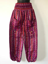 *Fair Trade* Hippy Boho Indian Made Paisley Stripe Acrylic Wool Trousers PS1