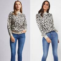 Ex Dorothy Perkins Animal Print Soft Knit Jumper Size 4 - 28 RRP £24