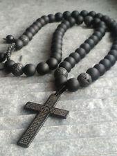 Halskette Onyx perlen Lavastein Anhänger Kreuz Edelstahl Schmuck Necklace