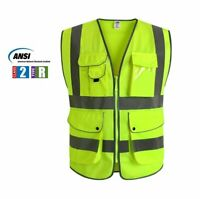 G & F Multiple Pockets Class 2 High Visibility Zipper Front Safety Vest