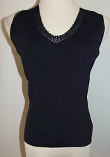 Womens Chico's Sz 0 XS Black Tank Top Lace V-Neck Sleeveless Shirt