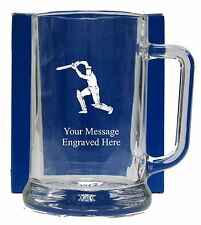 Personalised Cricket Pint  Glass Tankard  Birthday Free Gift Box GT20